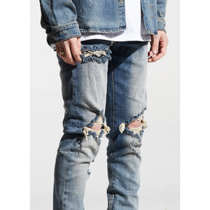 Crysp Denim Blue Ripped Pacific Denim Jeans (PAC-13)