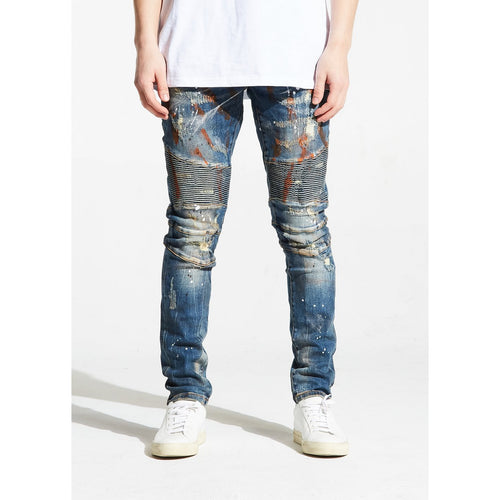 Embellish ODOM Blue Biker Denim w/Orange Fade
