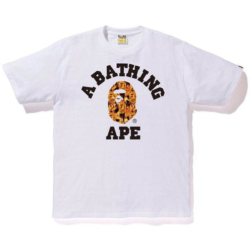 BAPE Flame College Tee - White/Orange