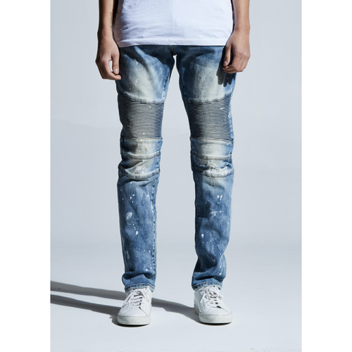 Embellish Blue Schuster Biker Denim Jeans w/White Paint