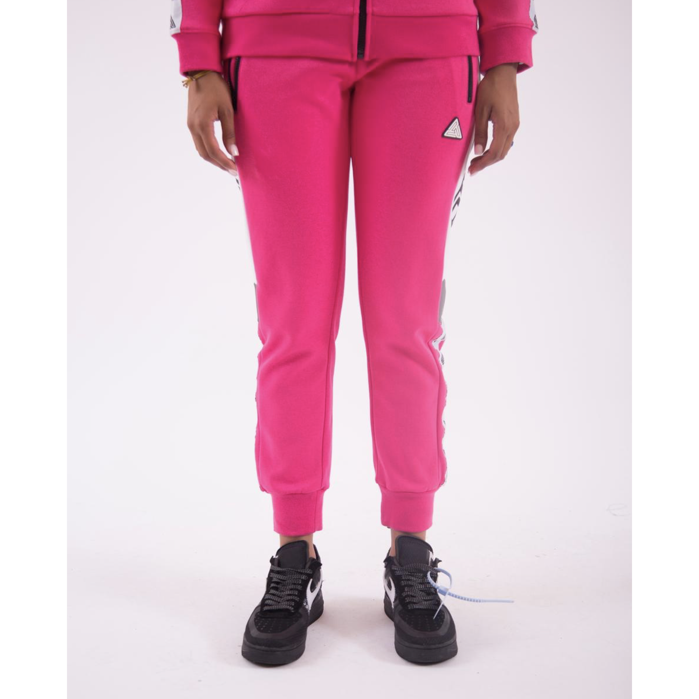 Women's Black Pyramid Logo Tape Pink Track Pants (YWG870106-PINK)