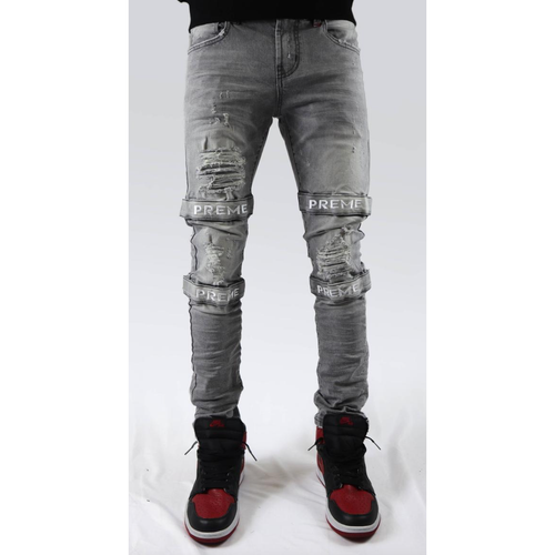 PREME Berlin Grey Biker Jeans with Straps In Stock