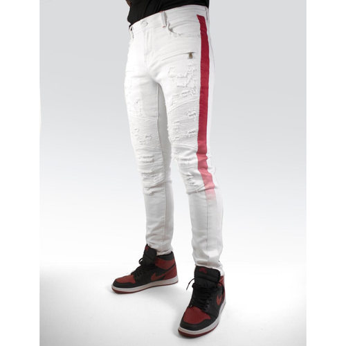 PREME White Denim Biker Jeans w/Red Tape (PR-WB-445)