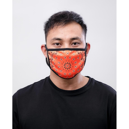 Hudson Solid Paisley Face Mask in Orange