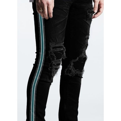 Embellish Black Willup Stripe Denim Jeans (Black/Green) (EMBSP220-148)