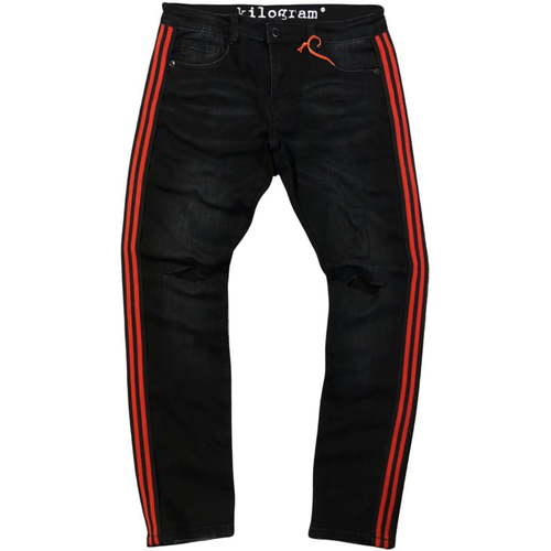 Kilogram Faded Black Side Strip & Knee Rip Denim Jeans (KG291S-RB)