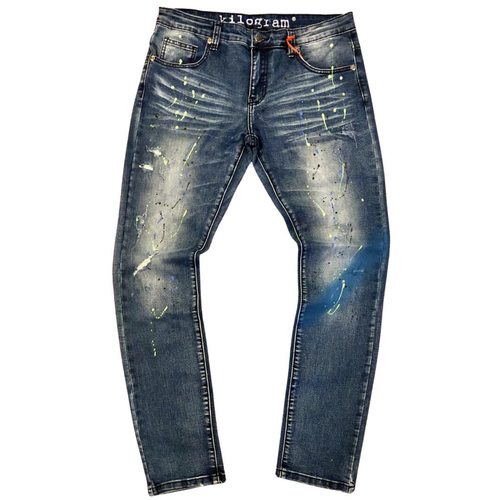 Kilogram Medium Blue Paint Splatter Denim Jeans