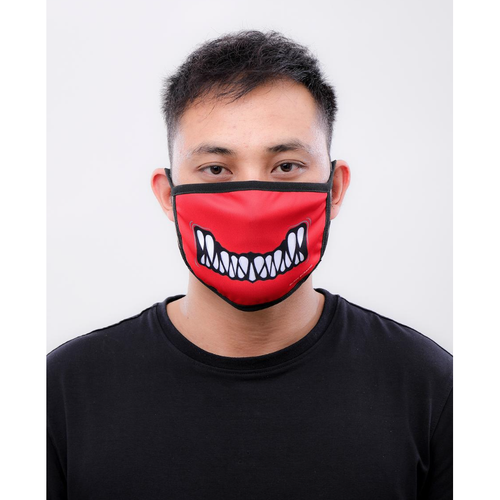 Black Pyramid Monster Bite Face Mask Red
