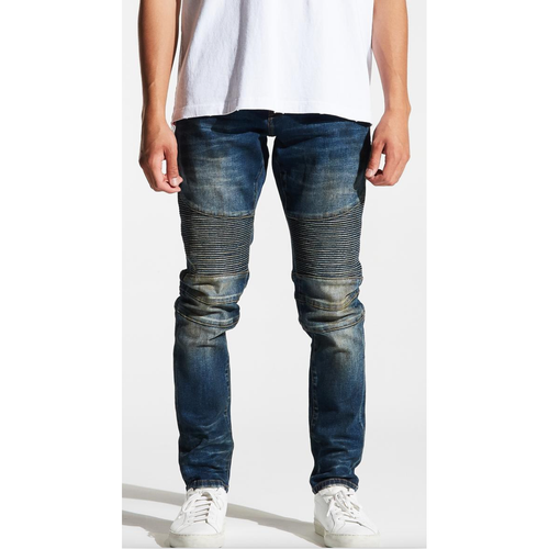 Embellish Dirty Indigo Wash Garland Biker Denim Jeans