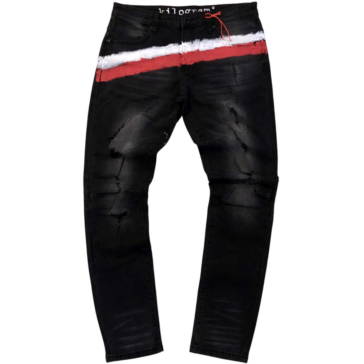 Kilogram Black Brush Painted Denim Jeans (KG10028)