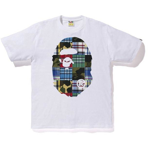 BAPE Patchwork Big Ape Head Tee - White