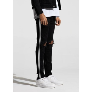 Crysp Denim Black Denim Jeans w/Black/White Line (CRYSPSP220-152) In Stock