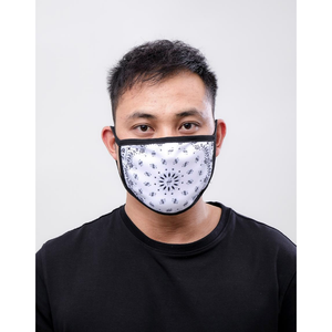 Hudson Solid Paisley Face Mask in White