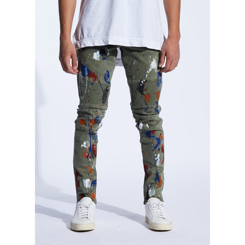 Embellish Olive Beckham Biker Denim  w/Paint