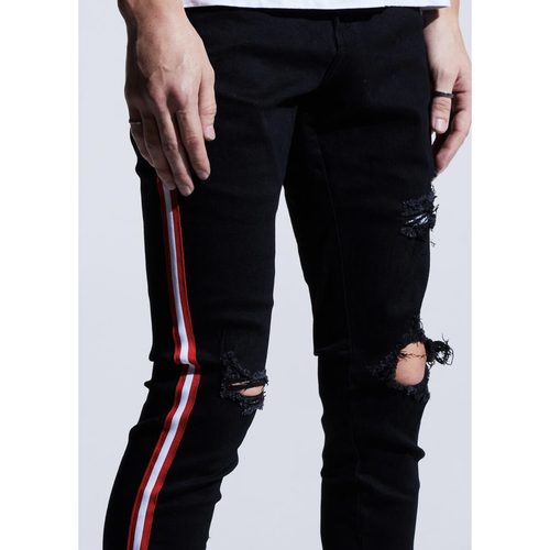 Karter Parker Red Stripe Black Denim Jeans w/Tears (KTROL-110)