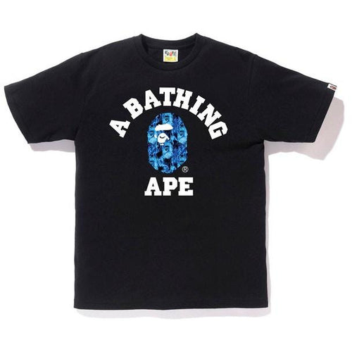 BAPE Flame College Tee - Black/Blue