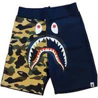 BAPE Split Camo Shark Sweat Shorts - Navy/Yellow