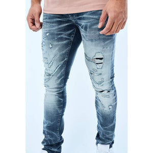 Jordan Craig Aged Wash Fused Shredded Denim Jeans (JM3373)
