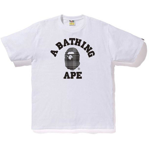 BAPE Check College Tee - White/Black