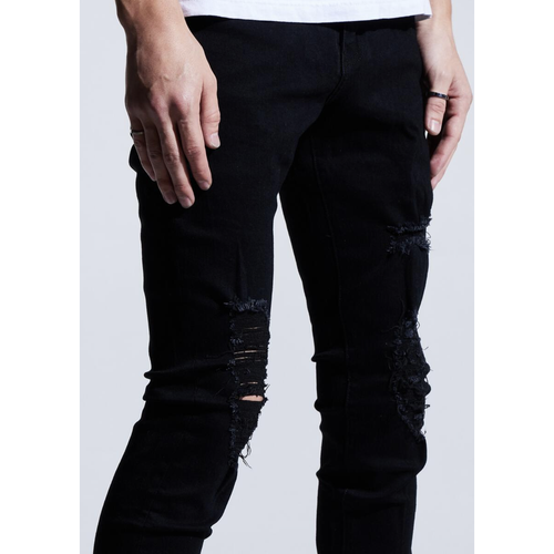 Karter Collection Henry Black Jeans w/Tears (KTROL-109)