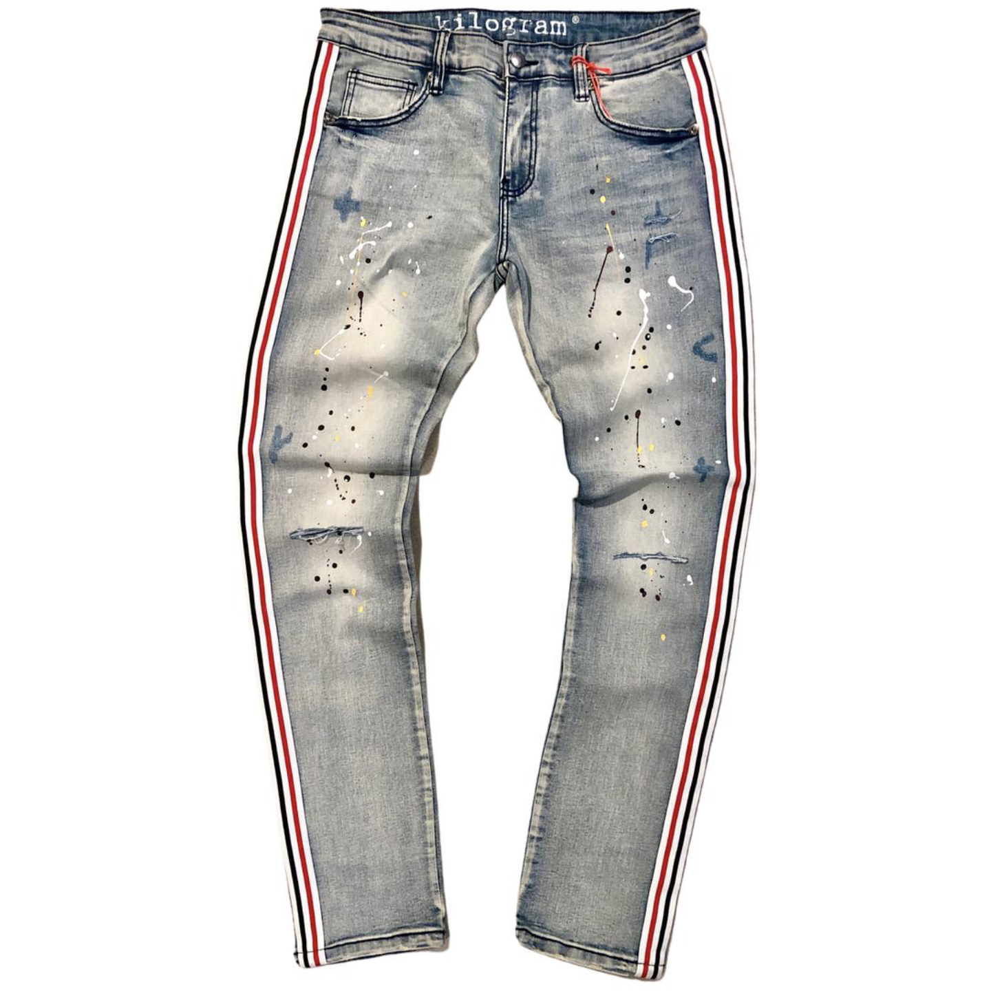Kilogram Egg Blue Side Stripe Painted Denim Jeans (KG10026S)