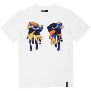 "Roku Orange Camo ""Tear Drip"" White Tee"