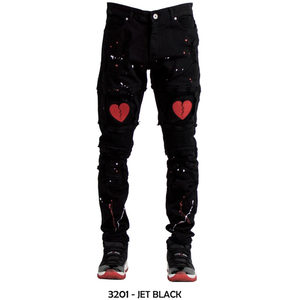Focus Black Red Heart Biker Denim Jeans