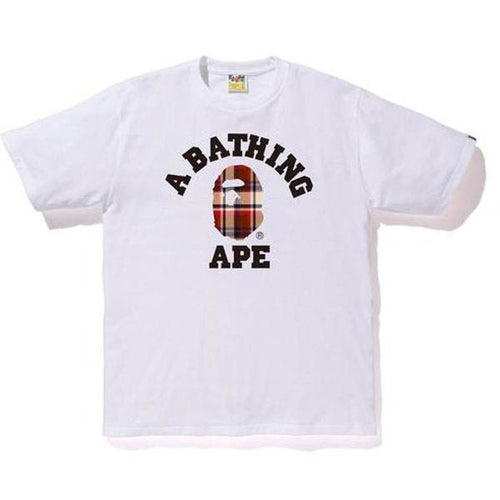 BAPE Bape Check College Tee - White/Red