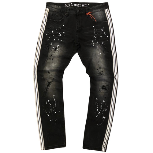 Kilogram Black Wash Paint Splatter Side Stripe Denim Jeans (KG10052S-GRW)