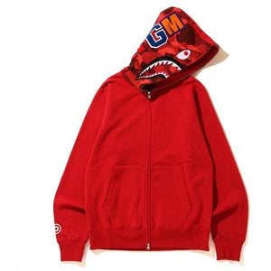 BAPE Shark Full Zip Hoodie - Red/Red
