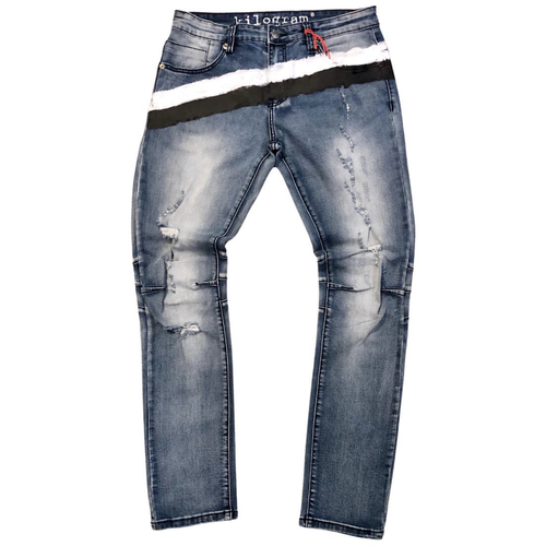Kilogram Med Blue Brush Painted Denim Jeans (KG10028)