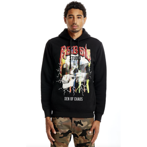 Rebel Minds Rebel Skull Pullover Hoodie in Black