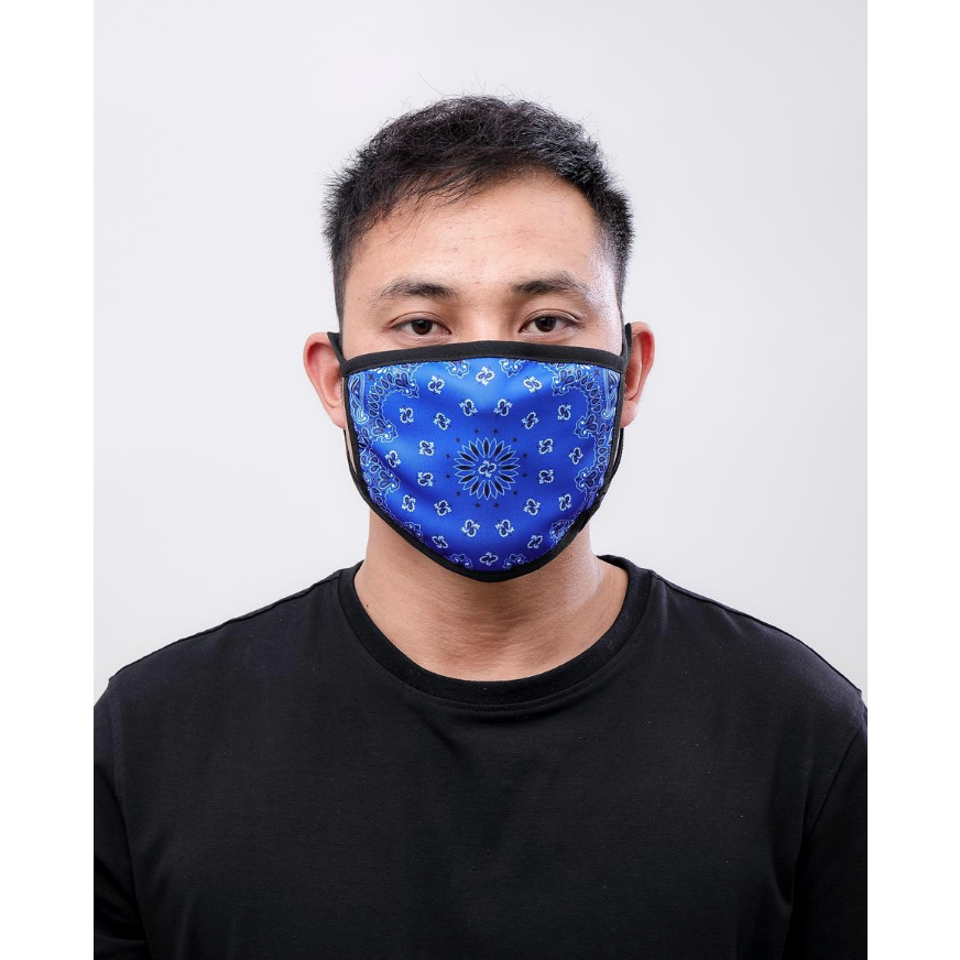 Hudson Solid Paisley Face Mask in Royal Blue