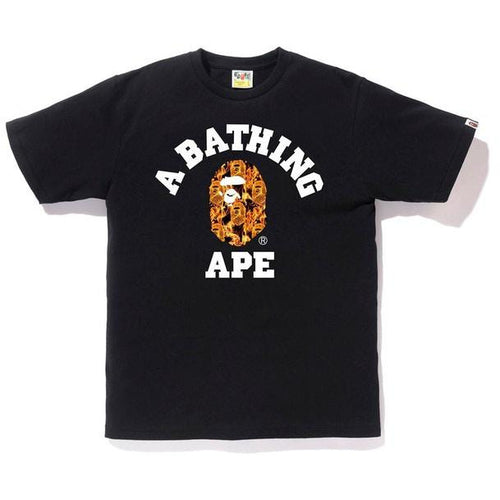 BAPE Flame College Tee - Black/Orange
