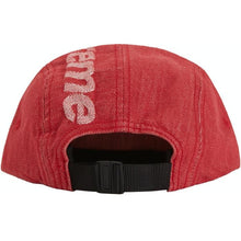 Load image into Gallery viewer, Supreme Top Logo Denim Camp Cap - Red