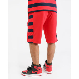Black Pyramid Red Game Stripe Shorts (Y3161987-RD)