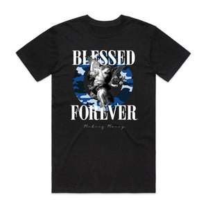 "Just Hustle ""Blessed Camo Angel Navy"" Black Tee"