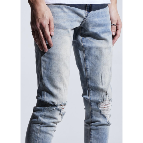 Karter Santiago Washed Light Blue Painted Jeans w/Tears (KTROL-112)