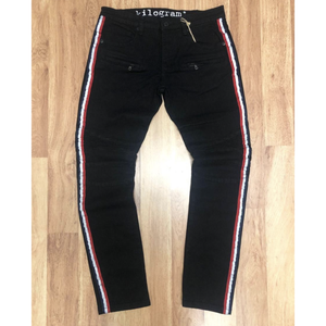 Kilogram White Stripe Black Biker Denim Jeans