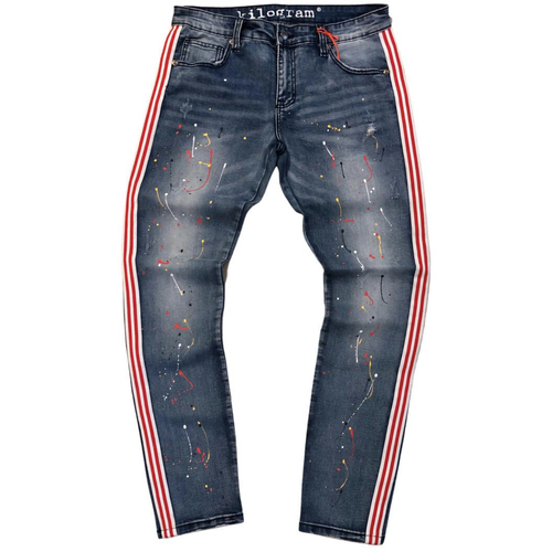 Kilogram Blue Side Stripe Painted Denim Jeans (KG10021S)