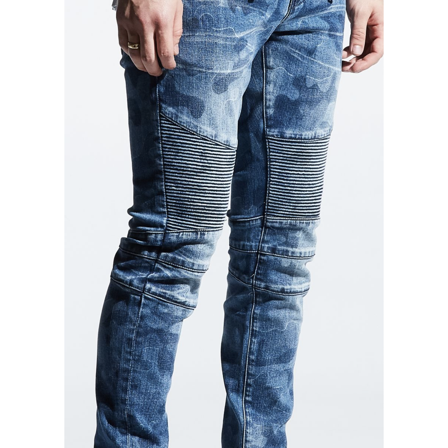 Embellish Blue Camo Mathewson Biker Denim Jeans (EMBF219-119)
