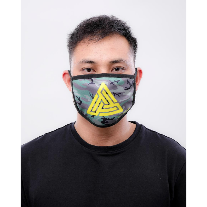 Black Pyramid Maze Logo Face Mask Camo
