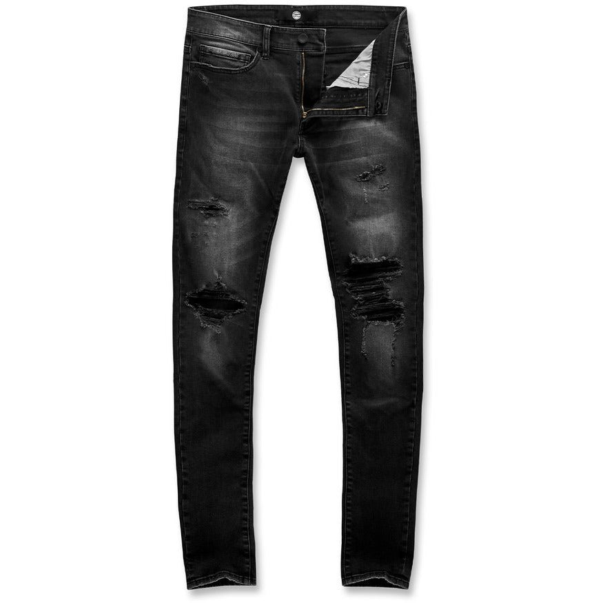 Jordan Craig Black Shadow Denim Jeans w/Tears (JM3394)