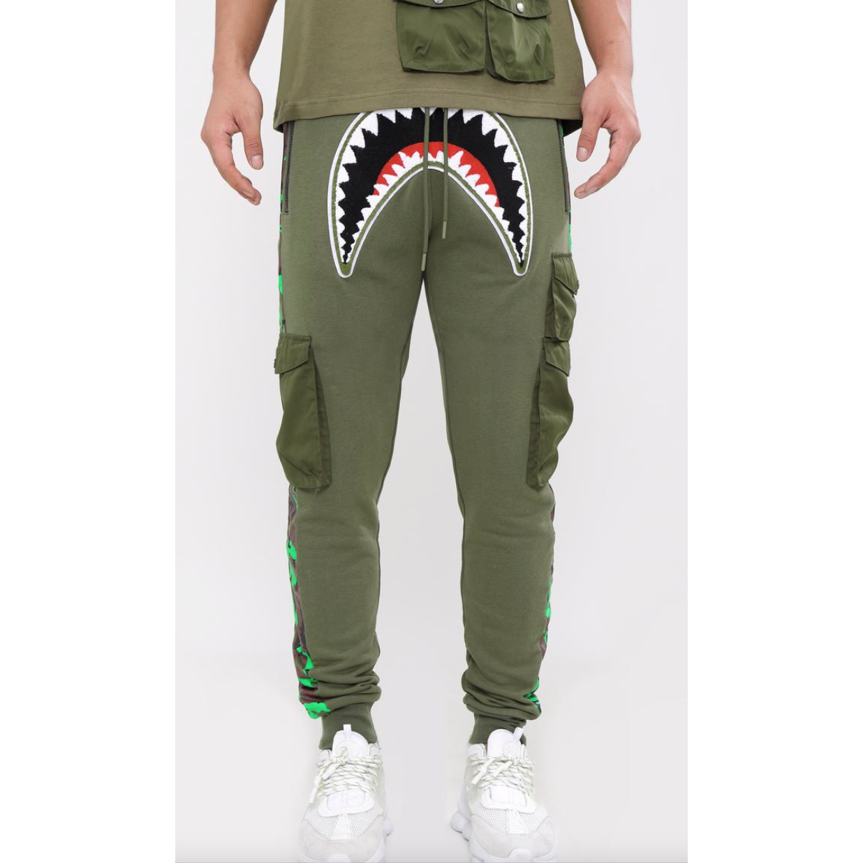 Hudson Utility Sharks Mouth Joggers Olive Green (H4052931)