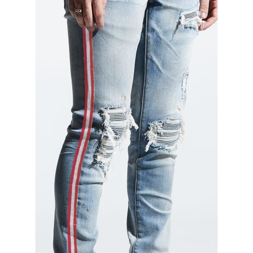 Embellish Blue Willup Stripe Denim Jeans (Blue/Red) (EMBSP220-145)