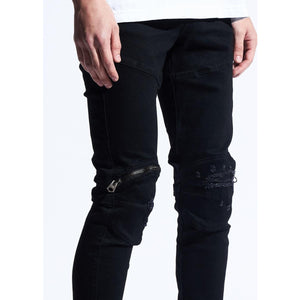 Crysp Denim Hudson Black Jeans w/Tears & Zipper (CRYSPQS-102)