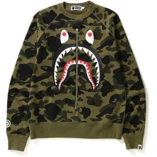 BAPE 1st Camo Metal Zip Shark Crewneck - Green