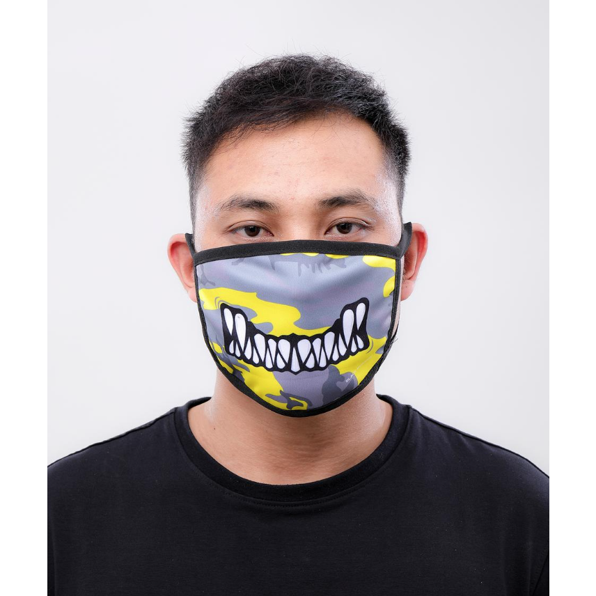 Black Pyramid Monster Bite Face Mask Yellow Camo