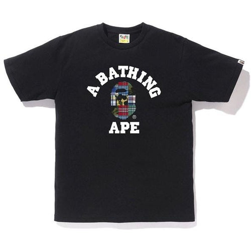 BAPE Patchwork College Tee - Black