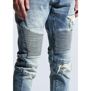 Crysp Denim Skywalker Vintage Indigo Biker Jeans (CRYSPHOL20-110)